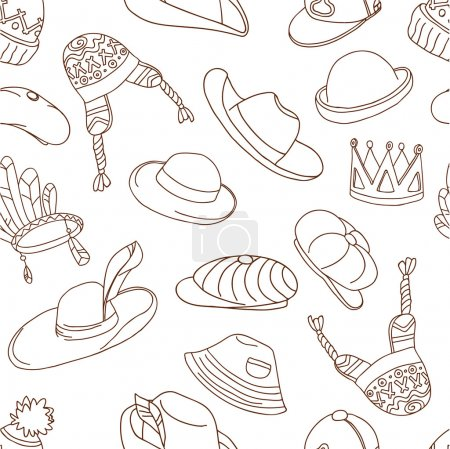 pattern with doodle hats