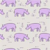 repeating pattern with cute hippopotamus