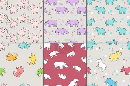 Illustration for Repeating patterns with cute rhinoceros for baby products - Royalty Free Image