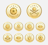 Set of various golden sport badge label emblem icon in vector