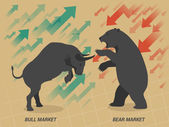 Stock market concept bull vs bear are facing and fighting on brown paper