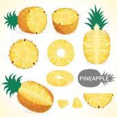 """Постер, картина, фотообои """"Набор Ананас фруктов в различных стилях в векторном формате"""""""