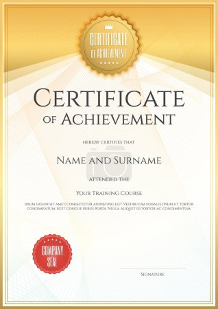Illustration for Certificate template in vector for achievement graduation completion - Royalty Free Image