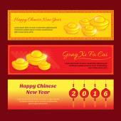 Sada čínský Nový rok proužkové konstrukce s Gong xi fa cai pozdrav slovo znamená Přejeme vám úspěšný rok v angličtině