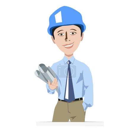 Engineer man in a helmet with drawings