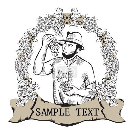 Illustration pour Exploitants masculins vendanges - image libre de droit