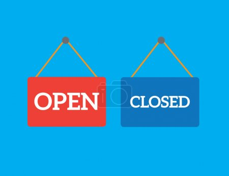 Open closed shop signs...