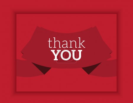 red ribbon card thank you vector