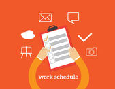 Flat design colorful vector illustration concept fo work schedule assignment planning working day productivity personal development