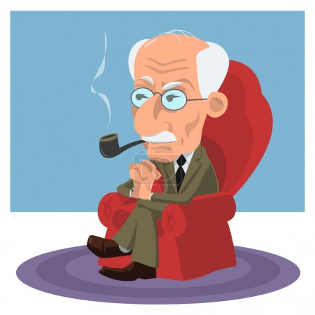 Illustration for Caricature of a psychiatrist, psychologist and psychotherapist Carl Jung - Royalty Free Image