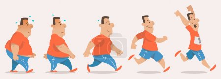 Illustration for Chubby man turning into athlete - Royalty Free Image