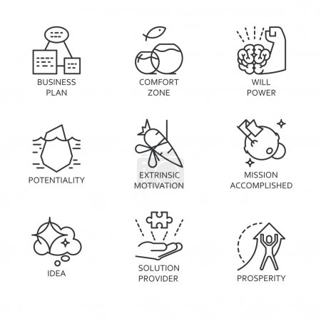 line vector set icons symbol business process and conducting