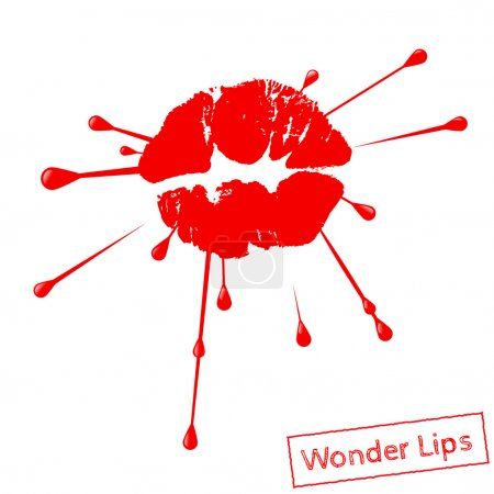 Red lipstick marks with splashing design