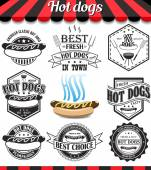 Hot dogs collection of vector signs symbols and icons Set of design elements badges stickers and labels food set