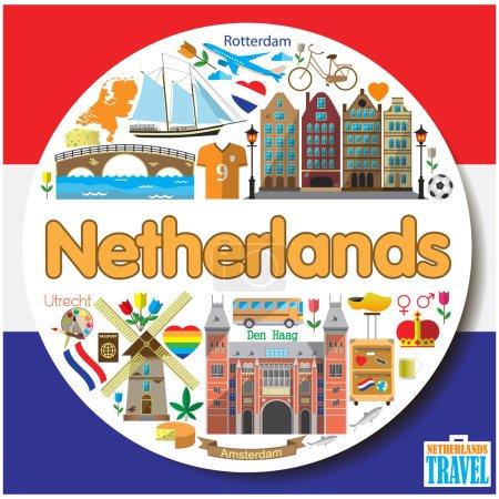 Illustration pour Pays-Bas fond rond. Ensemble d'icônes et de symboles plats vectoriels colorés - image libre de droit