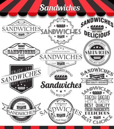 Illustration pour Illustration vectorielle set de sandwichs rétro étiquettes vintage, badges et logos - image libre de droit