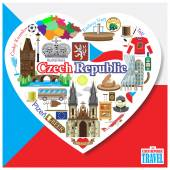 Czech Republic love Vector icons and symbols set of landmarks in form of heart