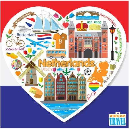 Illustration pour Pays-Bas love.Set coloré vecteur plat icônes et symboles en forme de coeur - image libre de droit