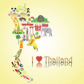 Thailand map Thai color vector icons and symbols in form of map