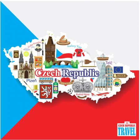 Czech Republic background. Set vector icons and sy...