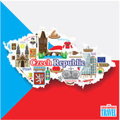 Czech Republic background Set vector landmarks icons and symbols in form of map
