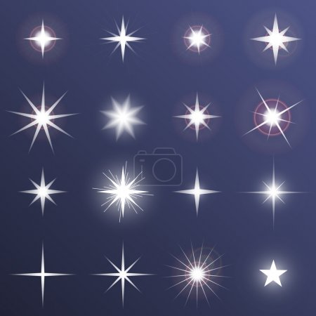 Illustration for Set of glowing light effect stars bursts with sparkles on dark background. Transparent vector stars - Royalty Free Image