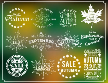 Hello Autumn and Hello September vintage labels. Autumn sale badges