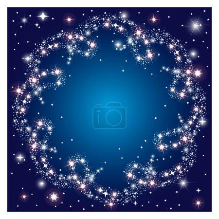 Glowing dark background with round frame sparkle stars