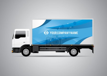 Advertisement or Corporate Identity Design Template on White Truck