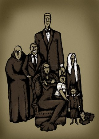 A portrait of the Addams family...