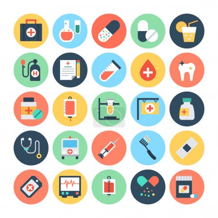 Illustration for Emergency Emergency Check this Medical Vector Icons Pack. This pack is useful and beneficial to the health and well-being of your work and projects. - Royalty Free Image