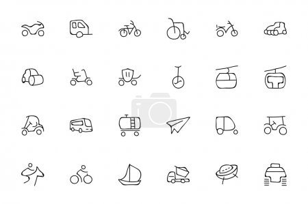 Illustration pour Emmenez-vous en voyage avec ces icônes de transport dessinées à la main ! Ce pack est rempli de différents vecteurs de transport, vecteurs de voiture, bus, trains, et bien plus encore . - image libre de droit