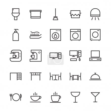 Set of hotel and restaurant vector line icons....