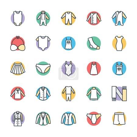 Mode et vêtements Cool vecteur icônes 10