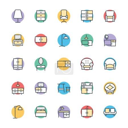 Illustration pour Voici la collection de meubles. Cet ensemble d'icônes est composé de tout ce qui concerne les meubles d'intérieur et d'extérieur. Il a diverses icônes attrayantes qui sont utiles pour vos prochains projets . - image libre de droit