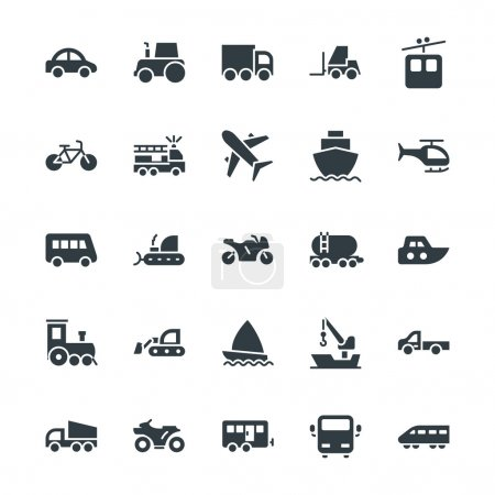 Illustration for Whether you like to travel by car, bus, train, bicycle, plane, boat or rocket ship, this Transport Cool Vector Icons set is your one stop shop for transportation icons. - Royalty Free Image