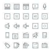 Here is the collection Multimedia icons set This icons set is composed to everything related multimedia sounds songs videos audios and many more It has various attractive icons that useful for your multimedia projects