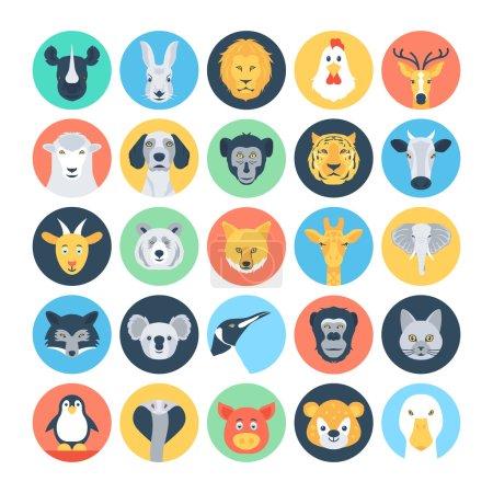 Illustration pour Vous n'avez pas besoin de faire un voyage au zoo pour profiter des animaux étonnants ! Avec cet ensemble d'icônes vectorielles Avatars animaux, vous aurez tous les vecteurs géniaux dont vous avez besoin au bout des doigts . - image libre de droit