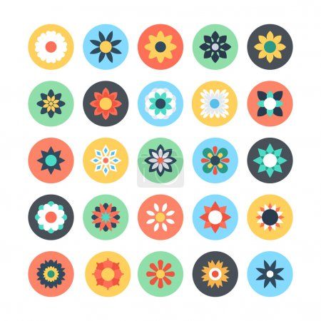 Flowers Vector Colored Icons 1