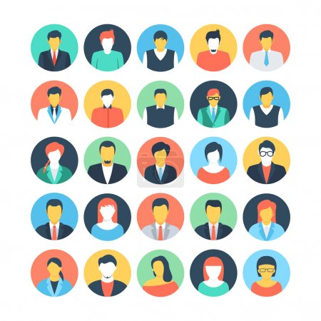 People Avatars Colored Vector Icons 1