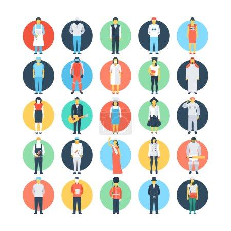 Photo pour Besoin d'un moyen simple de montrer différents emplois ? Cet ensemble d'icônes vectorielles de professions est certainement génial si vous cherchez un avatar pour vous représenter ou pour tout projet que vous pourriez avoir . - image libre de droit