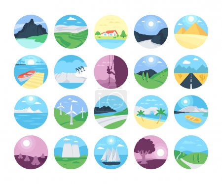 Illustration for Colorful landscape with mountain vectors, lake and trees. This Landscapes Vector Icons set will make you want to go backpacking now and leave it all behind. - Royalty Free Image