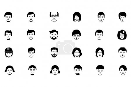 Illustration for Update your online presence with this Faces Vector Icons Pack! Use these faces vectors for your next social network project. - Royalty Free Image