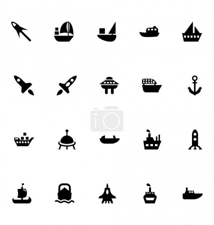 Illustration for Aircrafts and ships solid vector icons. - Royalty Free Image
