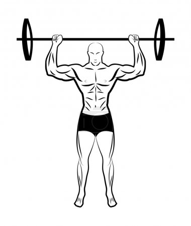 illustration of a man lifting a barbell. athlete