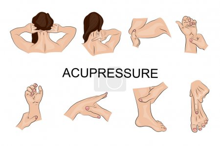 Illustration for Illustration of the techniques of acupressure. Oriental medicine - Royalty Free Image