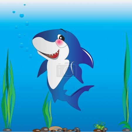 Illustration for Children's colored illustration of a shark under water, algae and barnacles - Royalty Free Image