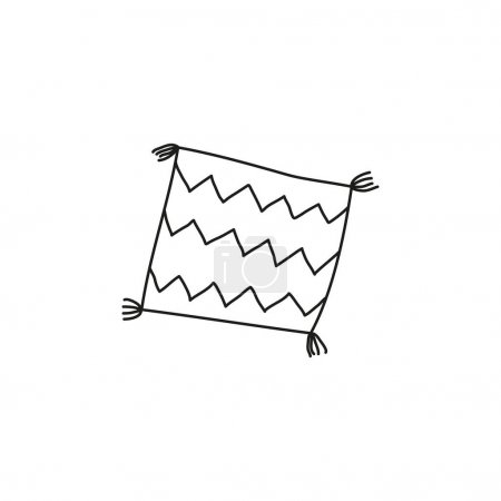 Illustration for Doodle outline striped pillow with tassels isolated on white background - Royalty Free Image