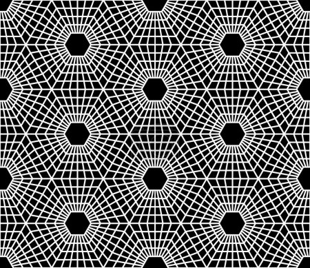 Vector modern seamless  sacred geometry pattern hexagon, black and white abstract geometric background, pillow print, monochrome retro texture, hipster fashion design