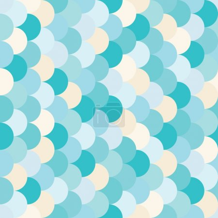 Illustration for Vector modern seamless colorful geometry pattern overlapping circles, color blue abstract geometric background, trendy multicolored print, retro texture, hipster fashion design - Royalty Free Image